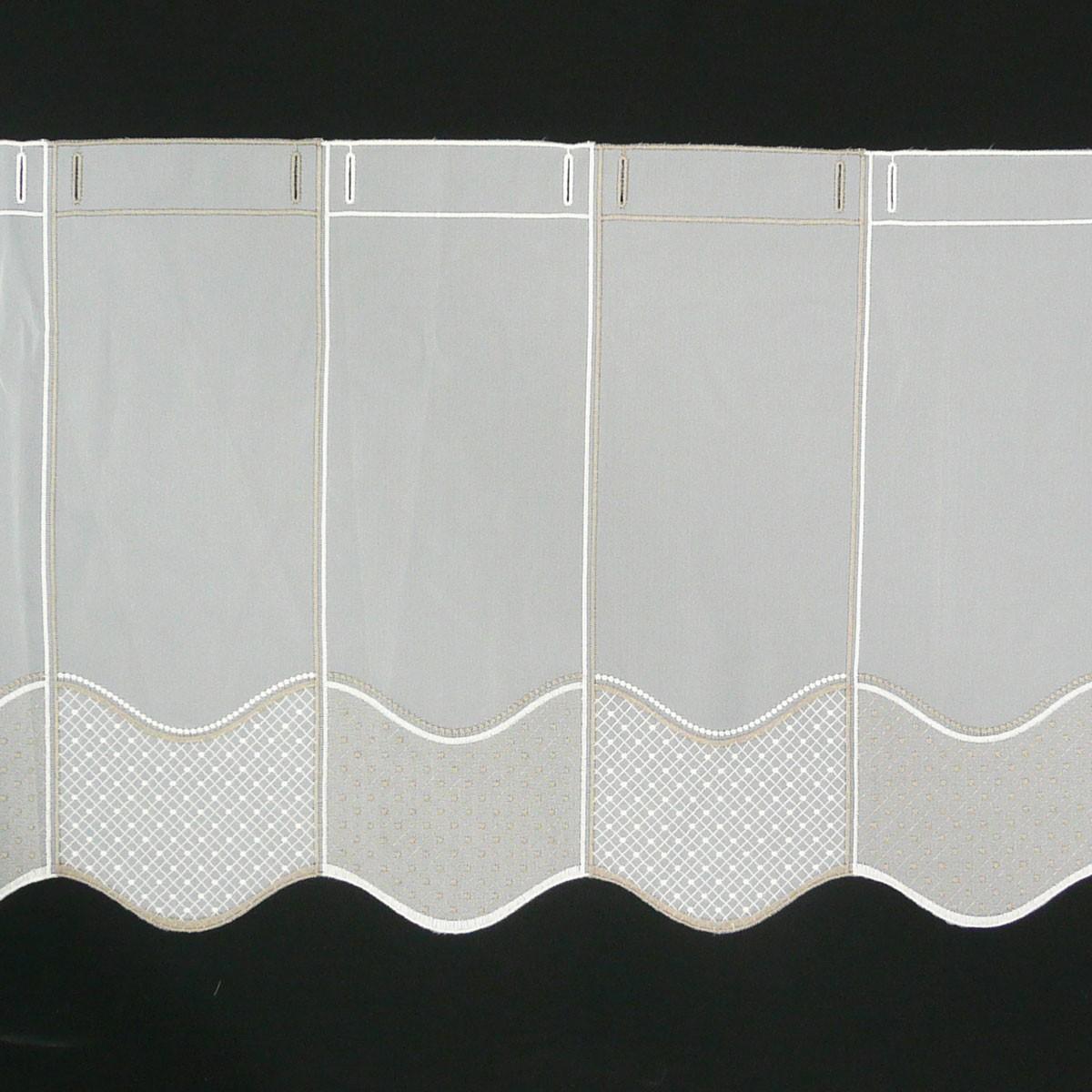 bistrogardine scheibengardine meterware stickerei braun wei 45cm h he gardinenstoffe. Black Bedroom Furniture Sets. Home Design Ideas