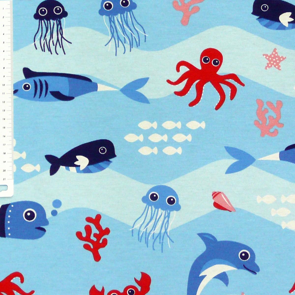 Dekostoff Unterwasserwelt Wasser Fische Gardinenstoffe Dekostoffe