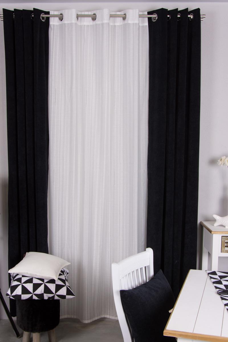 gardinen im black white look. Black Bedroom Furniture Sets. Home Design Ideas