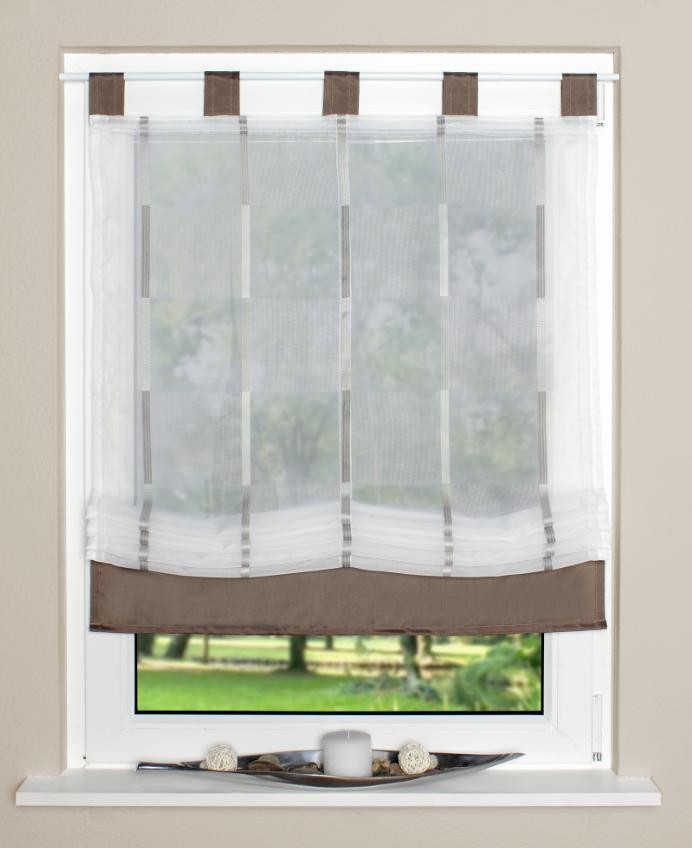 raffrollo rollo schlaufen wei transparent mit braunen. Black Bedroom Furniture Sets. Home Design Ideas