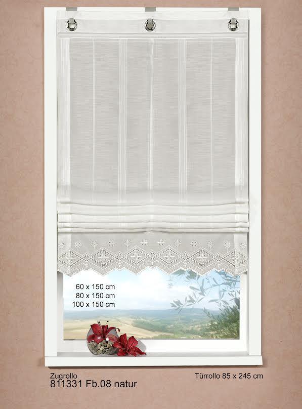 zugrollo b ndchenrollo rollo bestickt mit spitze 85x245cm. Black Bedroom Furniture Sets. Home Design Ideas